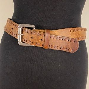 Vintage leather belt full grain silver buckle